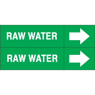 Weather-Code™ Self-Adhesive Outdoor Pipe Markers - Raw Water