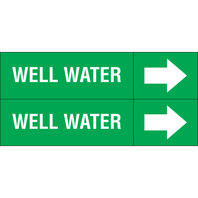 Weather-Code™ Self-Adhesive Outdoor Pipe Markers - Well Water