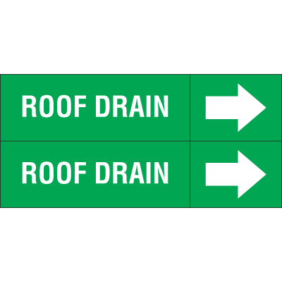 Weather-Code™ Self-Adhesive Outdoor Pipe Markers - Roof Drain