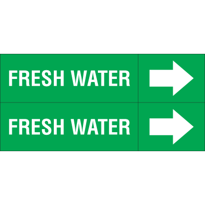 Weather-Code™ Self-Adhesive Outdoor Pipe Markers - Fresh Water