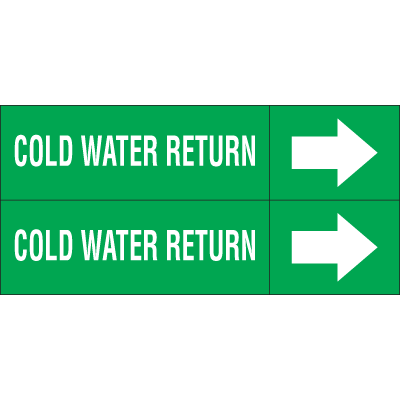 Weather-Code™ Self-Adhesive Outdoor Pipe Markers - Cold Water Return