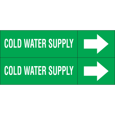 Weather-Code™ Self-Adhesive Outdoor Pipe Markers - Cold Water Supply