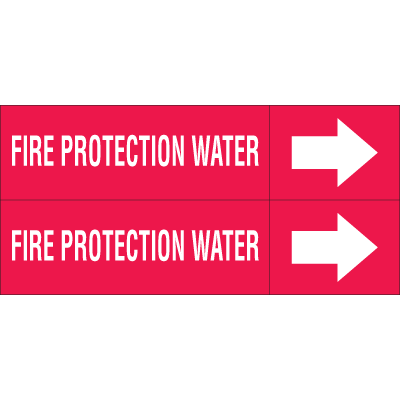 Weather-Code™ Self-Adhesive Outdoor Pipe Markers - Fire Protection Water