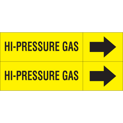 Weather-Code™ Self-Adhesive Outdoor Pipe Markers - Hi-Pressure Gas