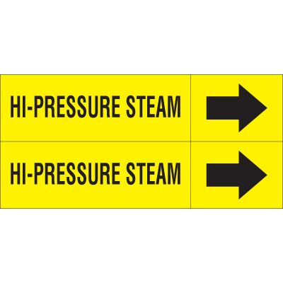 Weather-Code™ Self-Adhesive Outdoor Pipe Markers - Hi-Pressure Steam