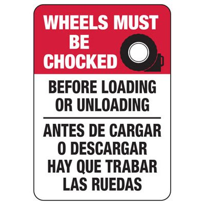 Wheels Must Be Chocked (Graphic) - Bilingual Wheel Chock Signs