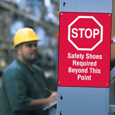 Workplace Safety Stop Sign - Safety Shoes Required