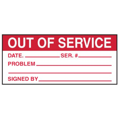 Write-On Action Labels - Out Of Service Date