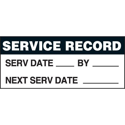 Service Record Status Label