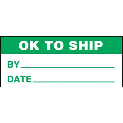 OK To Ship Self-Laminating Status Labels