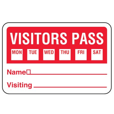 Write-On Visitor Badges - Visitor Pass