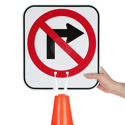 Arrow Sign Traffic Cone Signs - No Right Turn Symbol V-SNRT