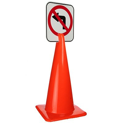Arrow Sign Traffic Cone Signs - No Left Turn Symbol V-SNLT
