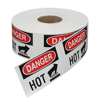 Safety Labels On A Roll - Danger Hot