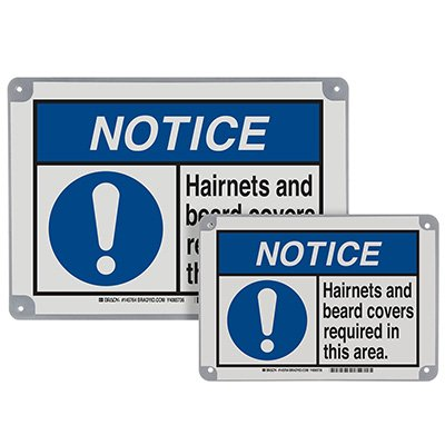 ToughWash® Encapsulated Signs - Notice Hairnets Required