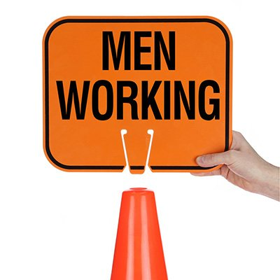 Plastic Traffic Cone Signs- Men Working