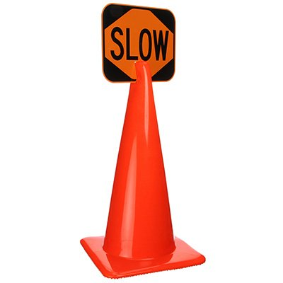 Plastic Traffic Cone Signs- Slow