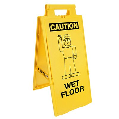 Lockin'arm Floor Stand Signs - Caution Wet Floor with graphic