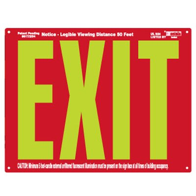 UL924 Photoluminescent Exit Sign - Red