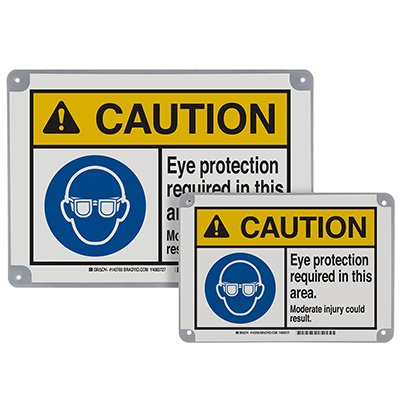 ToughWash® Encapsulated Signs - Caution Eye Protection Required