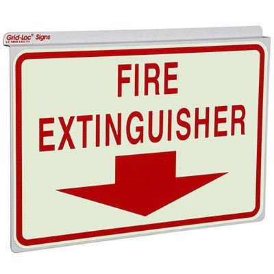 Fire Extinguisher with Down Arrow - Drop Ceiling Double-Faced Signs