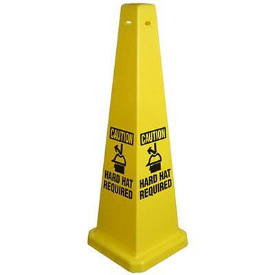 "Cone 4 Side 35"" Caution Hard Hat Required"