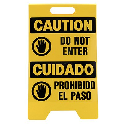 Bilingual Floor Stand Signs - Caution Do Not Enter
