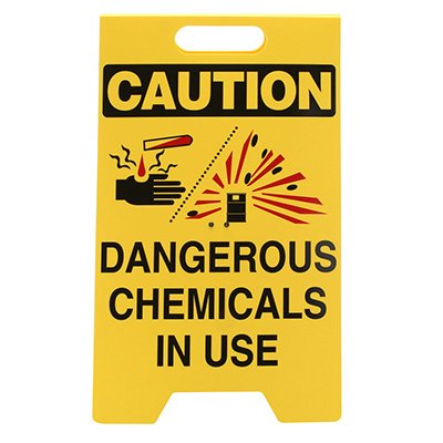 Caution Chemicals In Use - Floor Stand