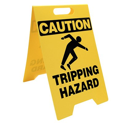 Heavy Duty Floor Stand Signs - Caution Tripping Hazard