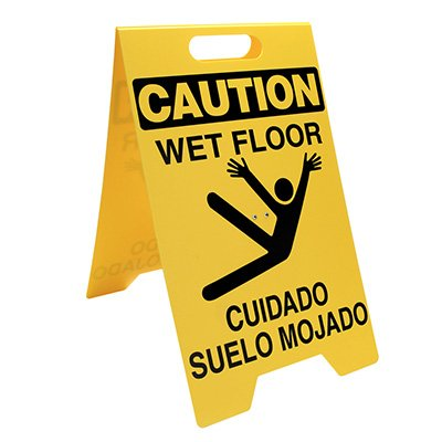 Bilingual Heavy Duty Floor Stand Signs - Caution Wet Floor