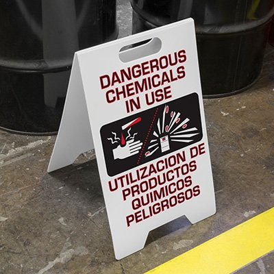 Heavy Duty Floor Stand Signs - Dangerous Chemicals In Use