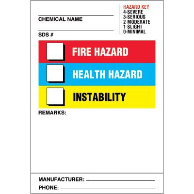 Chemical Hazard Labels - Fire, Health, Instability