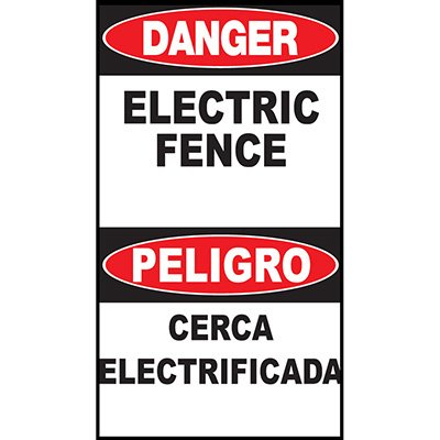 Danger Electric Fence Bilingual Sign