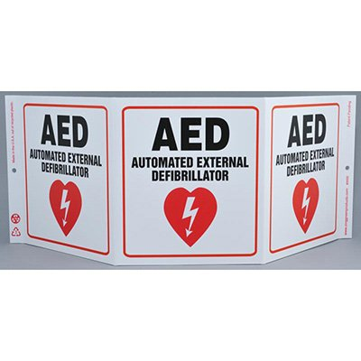 AED Tri View Sign