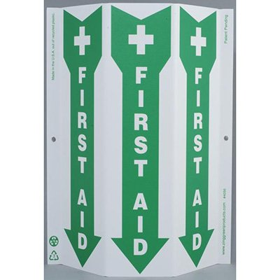 First Aid with Arrow Tri View Sign