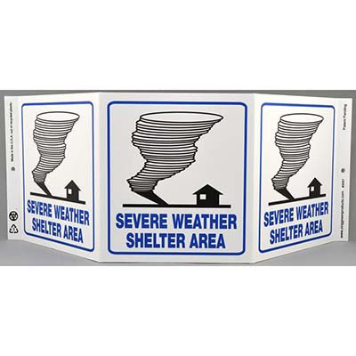Severe Weather Shelter Tri View Sign