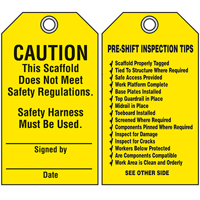 Scaffold Safety Tags - Caution This Scaffold Does Not Meet Safety Regulations