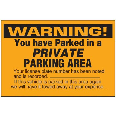Warning Private Parking Area Labels