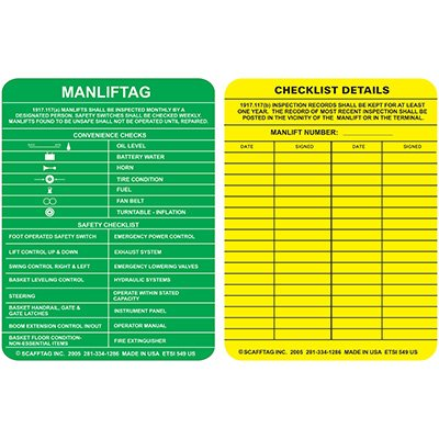 Manlift Entry Tag Insert