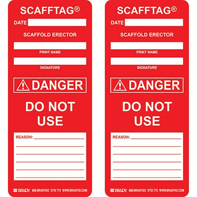 Danger - Do Not Use Scafftag Insert