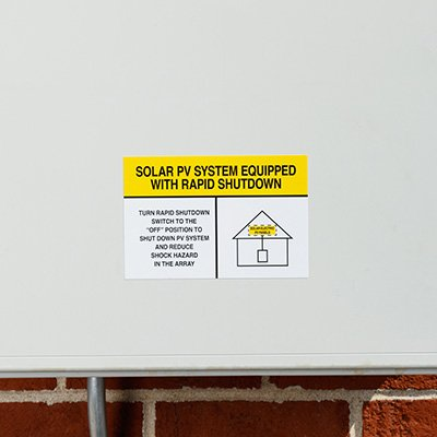 White/Yellow Rapid Shutdown Solar Warning Labels