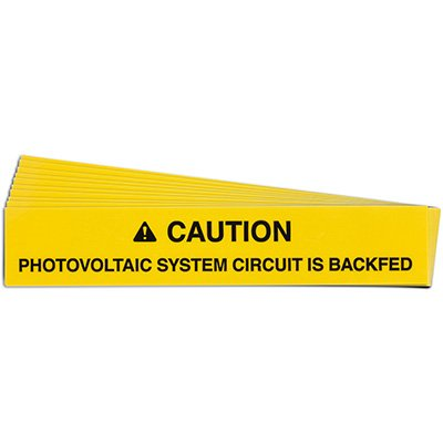 Backfed Photovoltaic System Solar Warning Labels