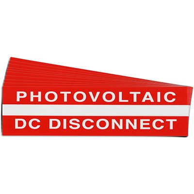"""""""Photovoltaic DC Disconnect"""" Solar Warning Labels"""