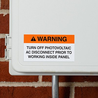 Working Inside Solar Warning Labels
