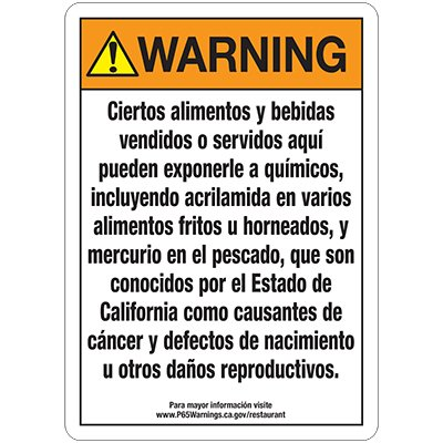 Bilingual Chemical Signs - Warning Proposition 65