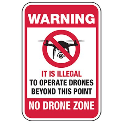Drone Use Illegal Behind Fence Sign