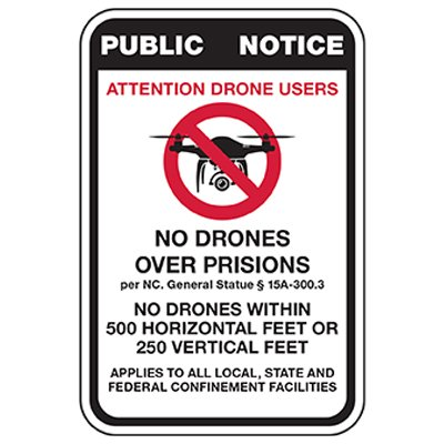 No Drones Over All Facilities Sign