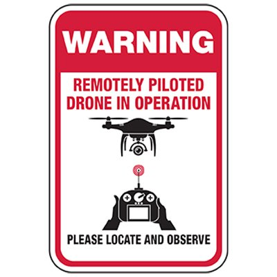 Warning: Remote Drone In Use Sign