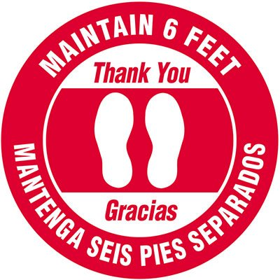 Bilingual Floor Safety Signs - Maintain 6 Feet - Red