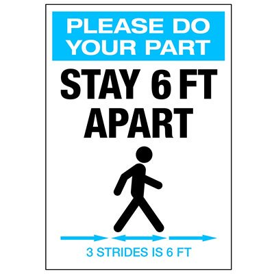 Stay 6 FT Apart 3 Strides Portrait Decal